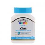 21st Century, Zinc (Цинк) + витамины C, B-6, 90 жевательных таб.