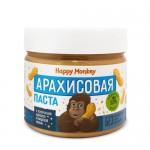 Happy Monkey Паста арахисовая c кусочками арахиса и морской солью 330 гр.