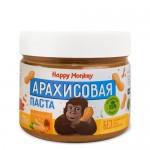 Happy Monkey Паста арахисовая c сиропом топинамбура и морской солью 330 гр.