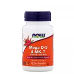 NOW Vitamin D (D-3) 5000 IU + K-2 (MK-7) 180 мкг 60 вегетарианских капс.